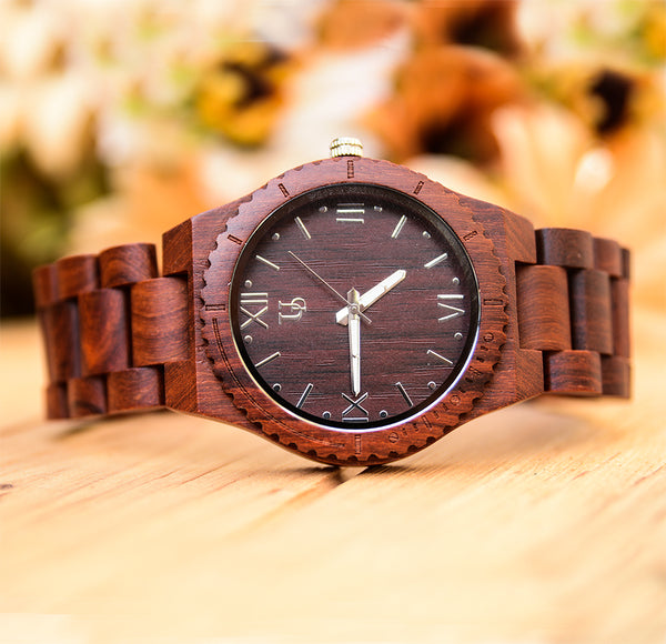 wood watch for men with red wood