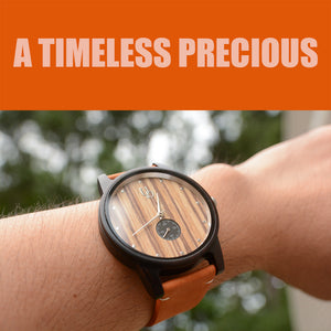 UD Handmade Mens Minimalist Round Wooden Watch with Premium Leather Band