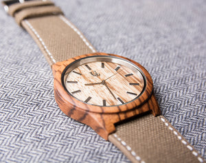 UD Engraved Watch Wood Watch with Genuine Leather/Canvas Watch Band