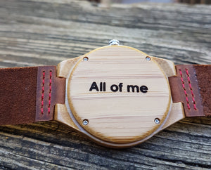 UD Personalized/Engraved Bamboo Watches with Genuine Leather Band