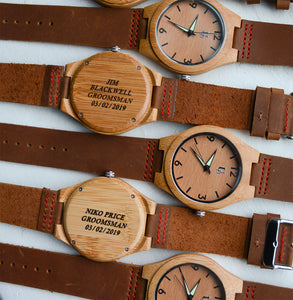 Groomsmen wooden watches from Urban Designer organized in a row.