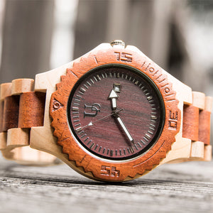 Personalized/Engraved Red/Beige Maple Wooden Watch with Date Display