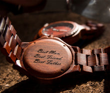 A groomsmen wooden watch used as a gift for dad from Urban Designer.