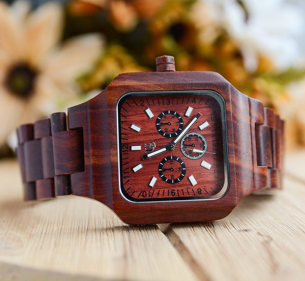 Best square wooden watches for men