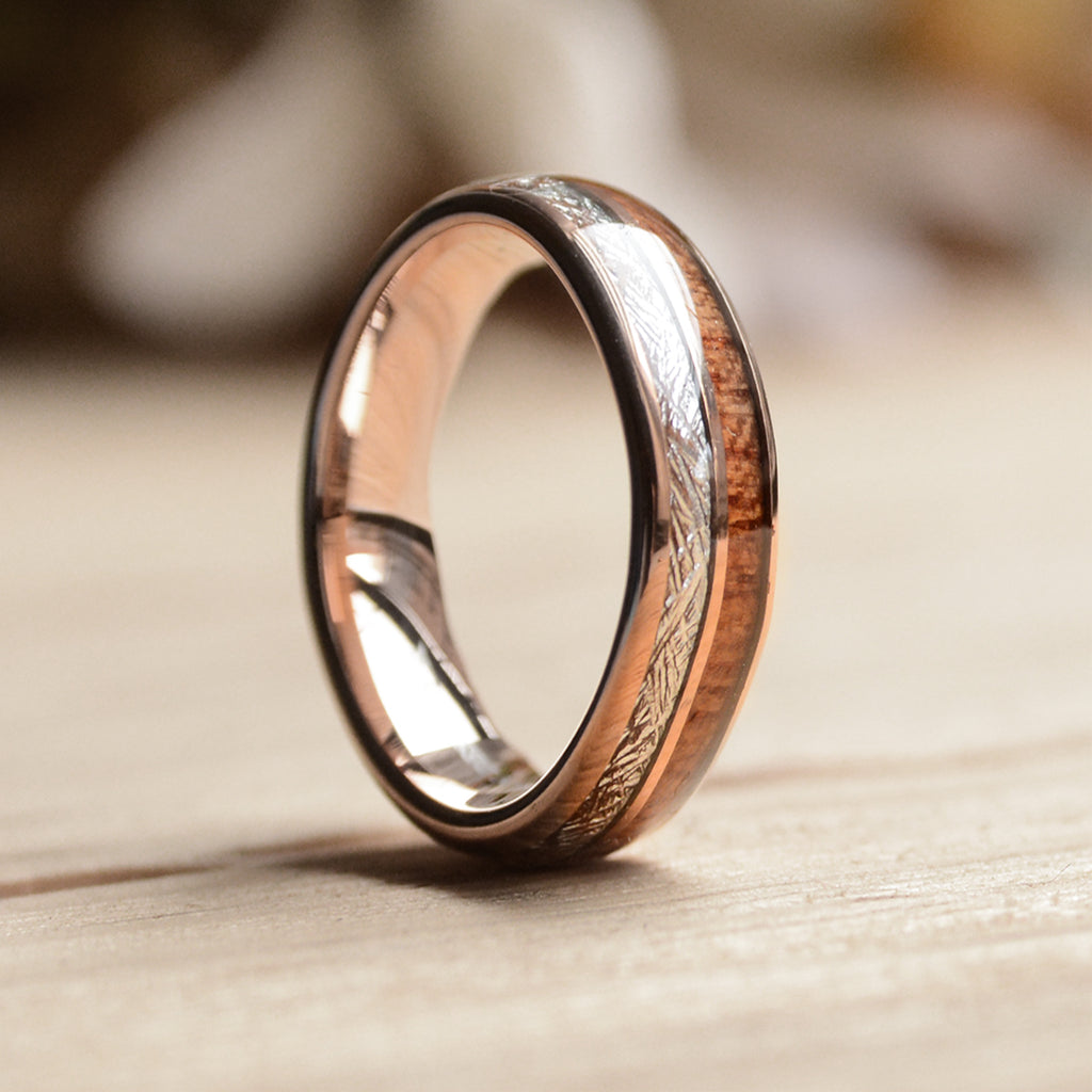 Wood Wedding Band.6mm Rose Gold Plated Tungsten Ring With Meteorite And Wood 6mm Wood Wedding Band