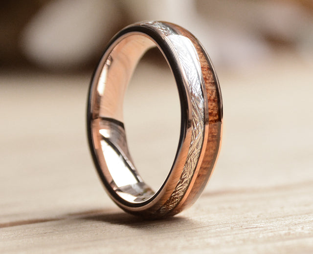 Rose Gold Tungsten Ring With Meteorite And Wood 6mm-Wood Wedding Band