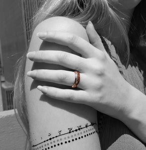 Match His and Hers Rose Gold Tungsten Rings With Meteorite And Wood Inlay-Wood Wedding Bands