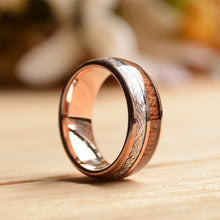 Rose Gold Tungsten Ring With Meteorite And Wood 8mm-Wood Wedding Band