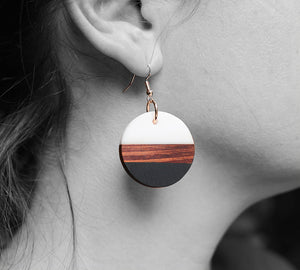 UD Color-block Round Disk Wooden Earrings