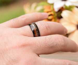 8mm Black Tungsten Ring With Cool Koa Wood Inlay and Sleek Silver Feathered Arrow