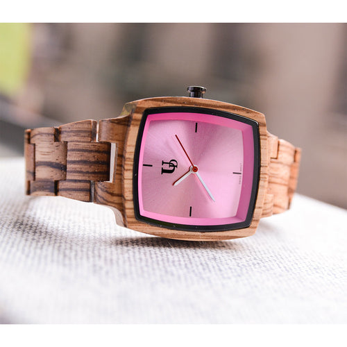 UD Classic Engraved Womens Zebra Square Wood Watch With Pink Face/Swiss Movement
