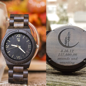 UD Personalized/Engraved Exotic Dark Round Wooden Watch