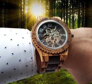 UD Premium Eco-Friendly Manual Mechanical Wood Watch For Men Natural Durable Handcrafted Gift Idea for Him