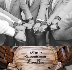 Groomsman Gifts - Engraved Multi Function Chronograph Zebra Round Wooden Watch For Groomsmen