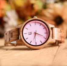 Minimalist Round Wooden Watch For Women With Pink Face and Wood Band