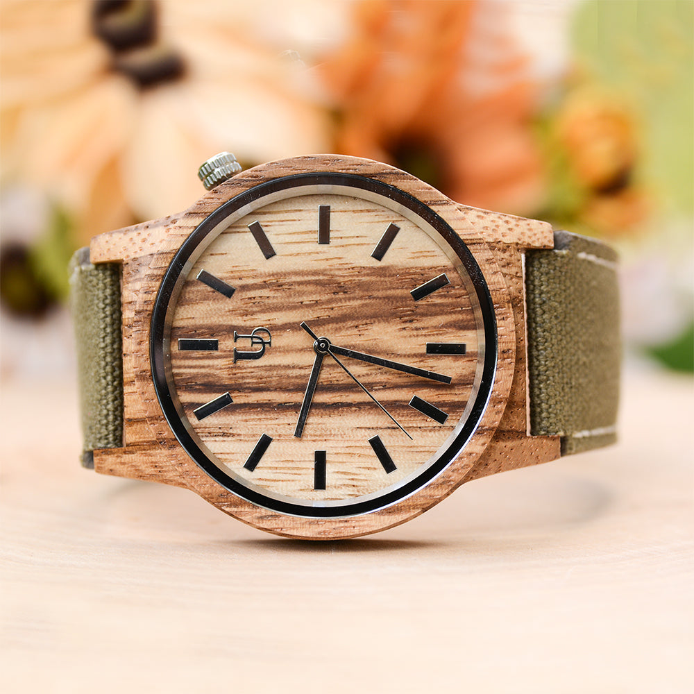 urban designer wooden watches-leather canvas band