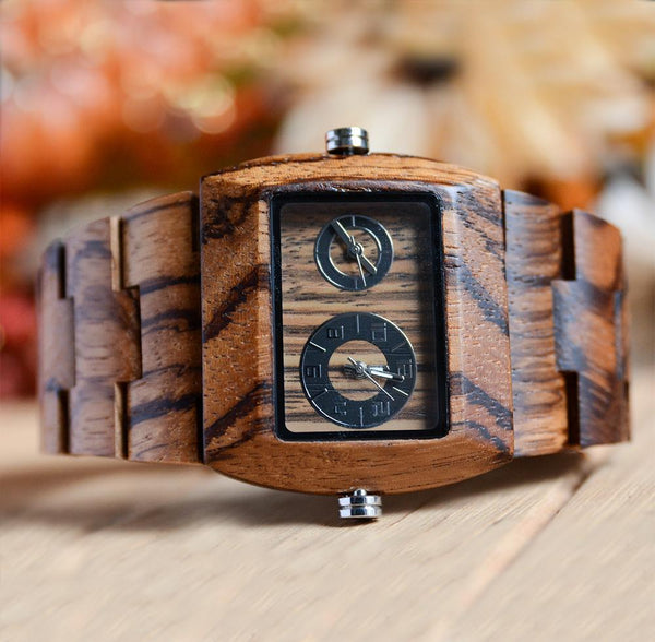 zebra dual dial wooden watches for men