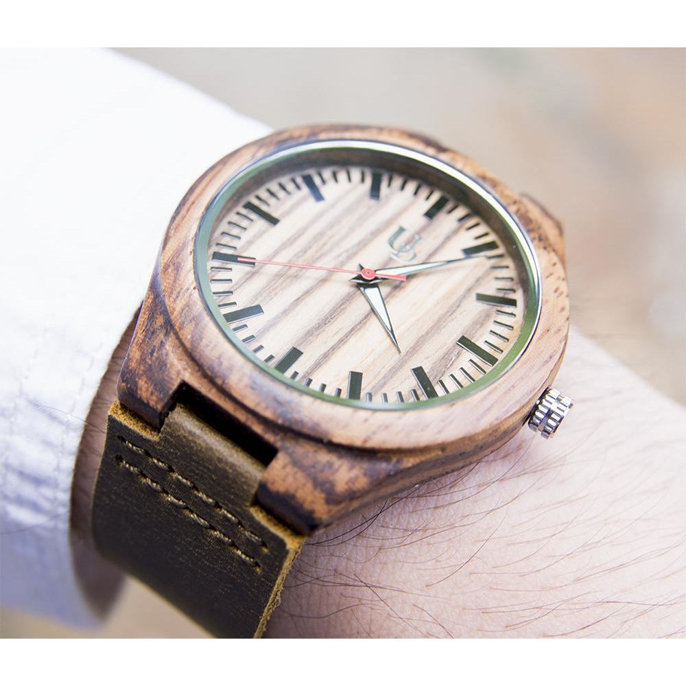 A cool wood watch with leather band from Urban Designer.