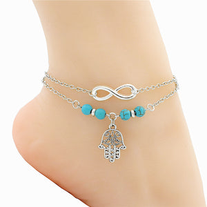 Silver Turquoise Anklet
