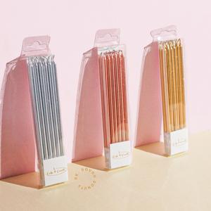 Tall Metallic Birthday Candles (Pack of 12)