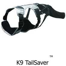 Load image into Gallery viewer, K9 TailSaver protects injured bleeding dog tails, and helps avoid amputation of dog tail. it's a sleeve and harness set that stays on any dog tail, and allows happy tail syndrome to heal, and your pup can wag his tail and be comfortable.