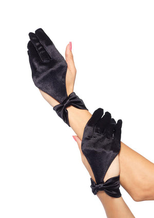 SATIN CUT OUT GLOVE WITH BOW - Made For Curves