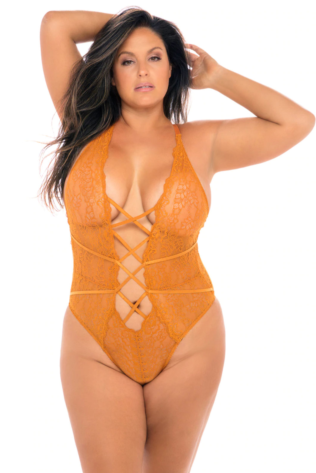 Sammy Strap up and Lace Teddy - Made For Curves