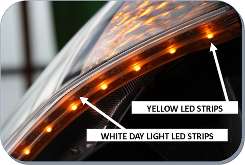Bluewire Automotive Yellow Amber Drl Led Strips Pair
