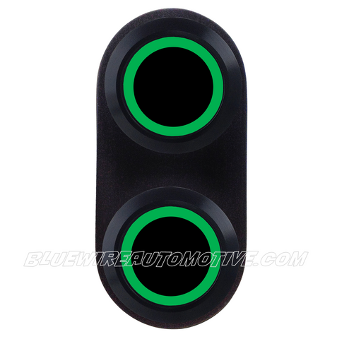 BLACK SERIES BILLET POWER WINDOW SINGLE SWITCH-GREEN LED