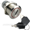 BILLET TURN KEY SWITCH WITH RED LED RING 19mm - ON/OFF
