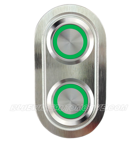 DELUXE SILVER SERISE BILLET POWER WINDOW SWITCH-GREEN