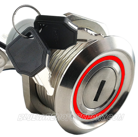 BILLET TURN KEY SWITCH WITH RED LED RING 30mm - ON/OFF/ON