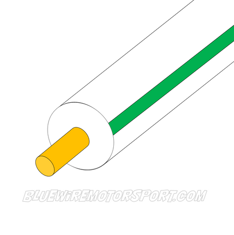 WHITE/GREEN SINGLE CORE WIRE - 30mtrs - 3mm