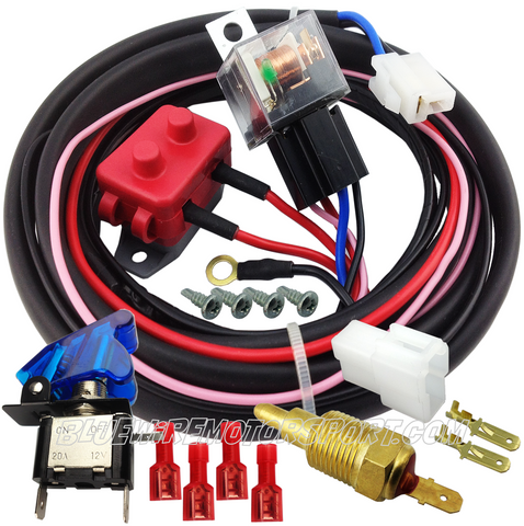 ULTRA ELECTRIC COOLING FAN HIGH AMP RELAY SYSTEM & HARNESS + WATER TEMP SENSOR + OVERRIDE SWITCH
