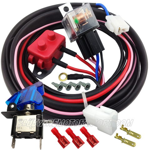 ELECTRIC COOLING FAN HIGH AMP RELAY SYSTEM & HARNESS + OVERRIDE SWITCH