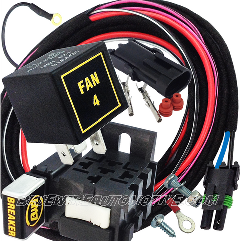 ELECTRIC FAN 4 HEAVY DUTY RELAY SYSTEM & HARNESS-30/40amp-BWARKFN-05