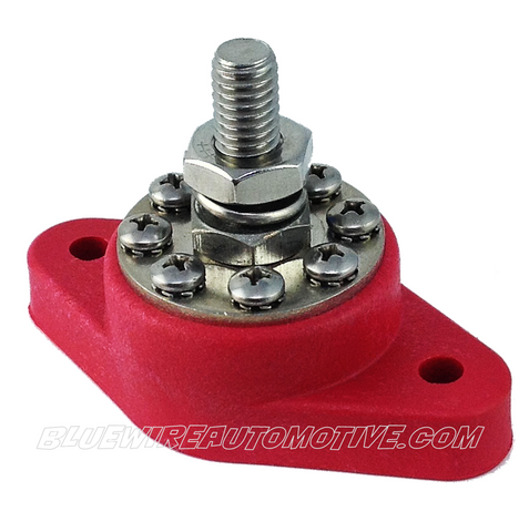 8-BUS INSULATED BATTERY POWER JUNCTION POST RED - BWAB0005