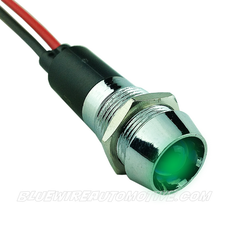 CHROME DASH LED PILOT LIGHT - GREEN 12mm