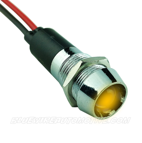 CHROME DASH LED PILOT LIGHT - AMBER 12mm