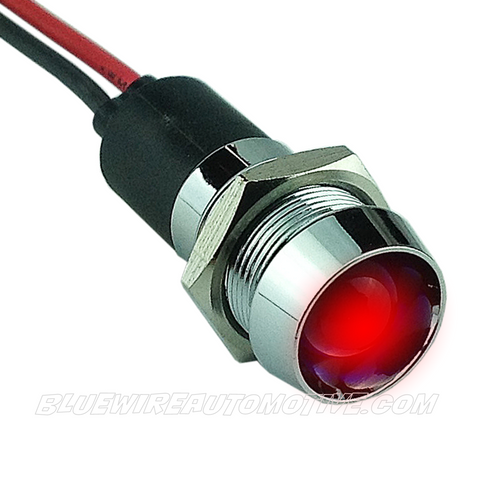 CHROME DASH LED PILOT LIGHT - RED 14mm