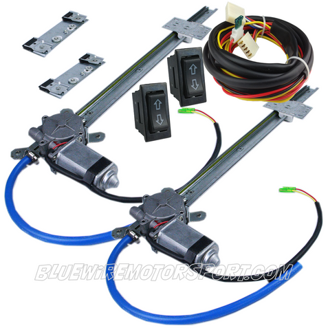 UNIVERSAL FLAT GLASS POWER WINDOW KIT + 2 SWITCH WIRE HARNESS - 2D