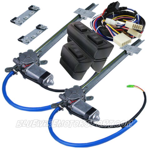 UNIVERSAL FLAT GLASS POWER WINDOW KIT + 3 SWITCH WIRE HARNESS - 2D