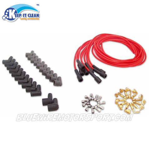 SPARK PLUG LEAD KIT CLEAR RED (7mm 180)