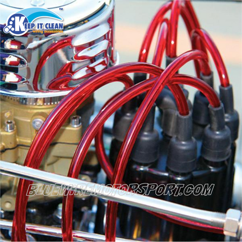 SPARK PLUG LEAD KIT CLEAR RED 7mm 180