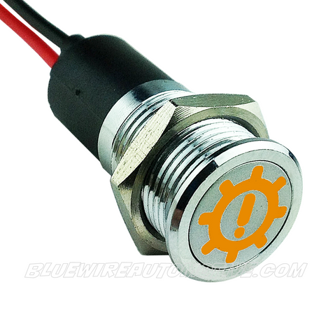 TRANS BRAKE SIGNAL SILVER SERIES PILOT LIGHT - AMBER 14mm