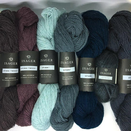 Yarn kit for Adotte scarf in blue colors, Isager Spinni and silk mohair yarn