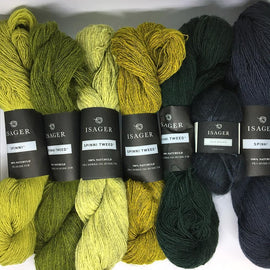 Yarn kit for Adotte scarf in green colors, Isager Spinni and silk mohair yarn
