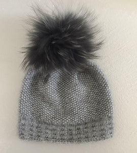 Ahhhh mink hat, soft and warm light grey knitted hat with pompom, made in Önling No 3 mink yarn