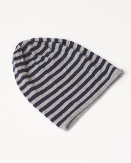 Aida hat with blue and grey stripes, made in warm and soft wool and angora