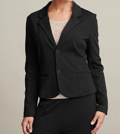 Aisha elegant jacket, black suit jacket for women, made in viscose, the front